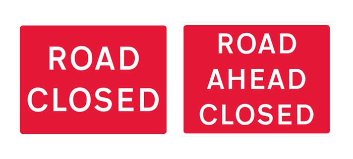 road closed banners